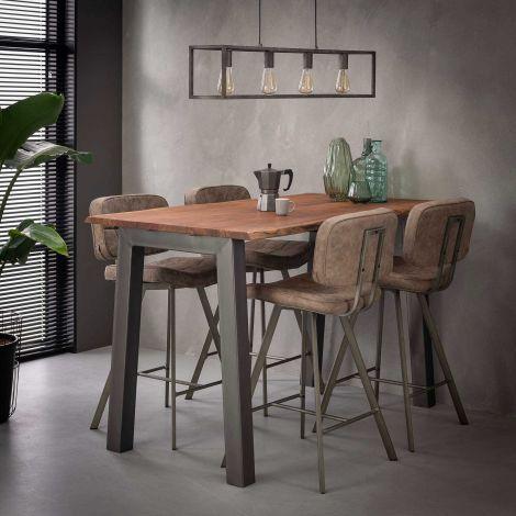Table de bar Edge 147x80 en bois d'acacia - brun/gris