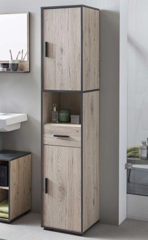Colonne salle de bains Ariadna 2 portes & 1 tiroir - chêne gris/gris graphite