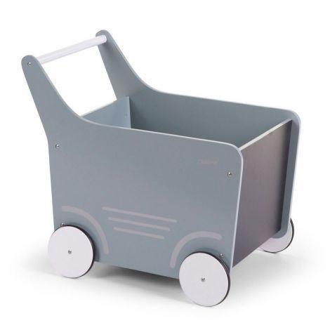 Chariot de marche en bois - bleu menthe