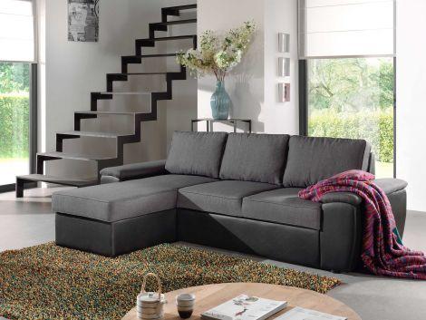 Canapé d'angle Brenda avec canapé-lit & rangement