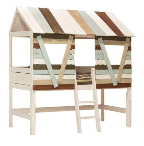 Lit cabane avec échelle inclinée - white wash