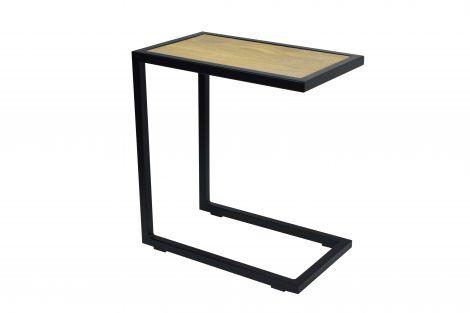 Table d'appoint Divani 30x50 industriel - noir/chêne
