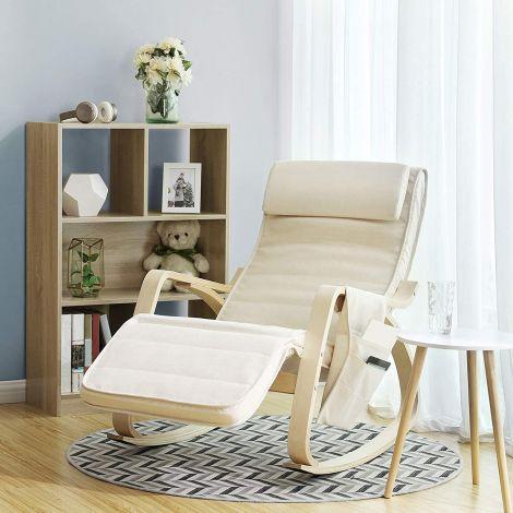 Chaise à bascule Rani avec poche latérale - beige/bouleau