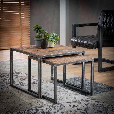 Table d'angle série - 2 60x60 grained - Bois dur robuste