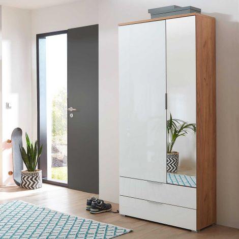 Armoire vestiaire Tille 84cm avec 2 portes & 2 tiroirs - blanc/chêne