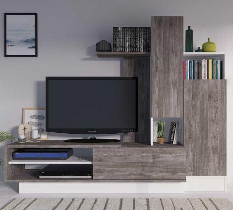 Meuble tv Benno 200cm - gris/blanc
