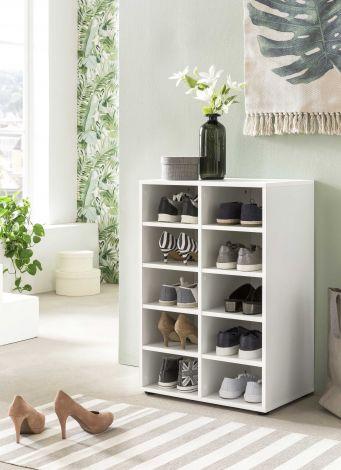 Etagère / Armoire à chaussures Levi à 10 compartiments - blanc