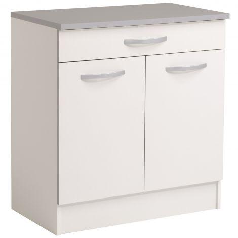 Meuble bas Spott 80 cm avec tiroir et 2 portes - blanc