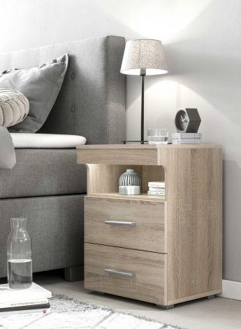 Table de chevet Bedside 2 tiroirs - chêne