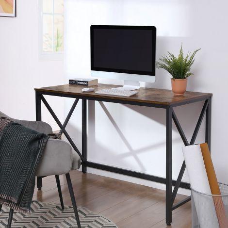 Table de bureau Gerrit 115 cm - brun rustique/noir