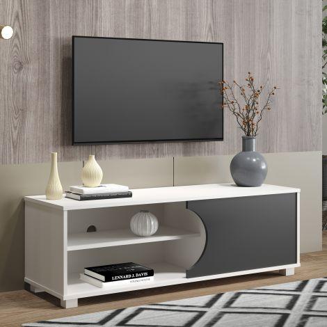 Meuble tv Haaland 120cm à 1 porte - blanc/gris