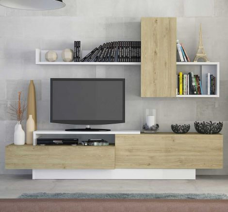 Meuble tv Cosmit 240cm - chêne/blanc