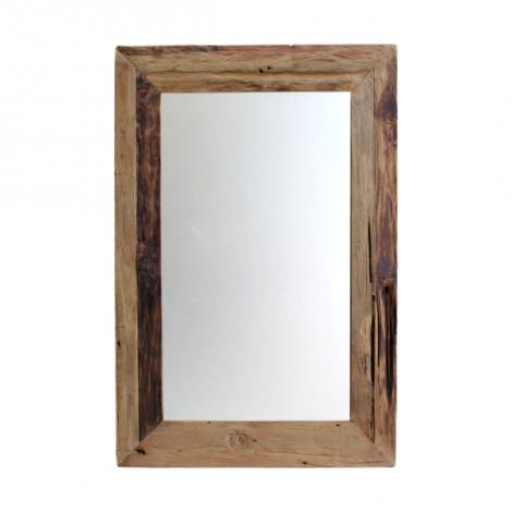 Miroir mural Rustika 120x60cm - bois flotté/teck
