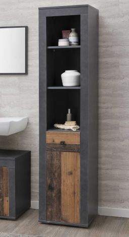 Colonne Rutger 1 tiroir & 1 porte - bois/graphite