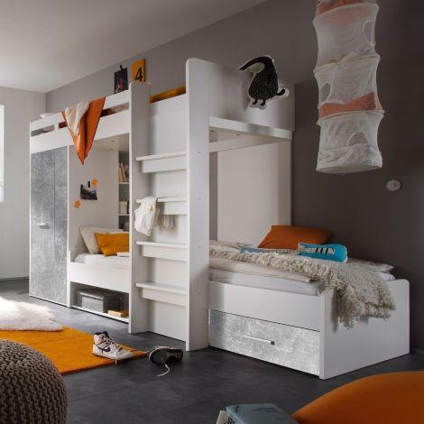 Lit superposé 90 x 200 avec armoire Lopes - béton/blanc