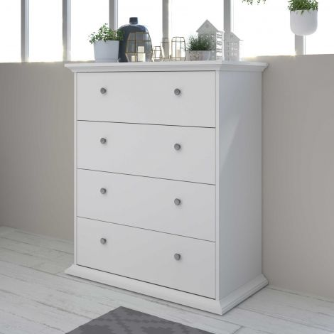 Commode Morgane 4 tiroirs - blanc