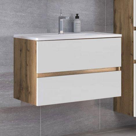 Meuble vasque Luna 100cm 2 tiroirs - chêne/blanc