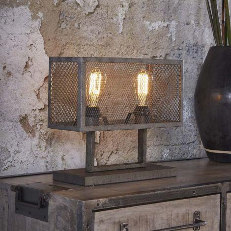 Lampe de table rectangle la grille avec 2 ampoules - Finition argent ancien