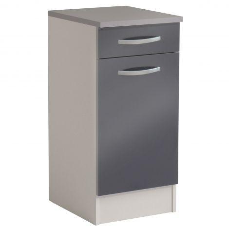Meuble bas Spott 40x47 cm avec tiroir et porte - glossy grey