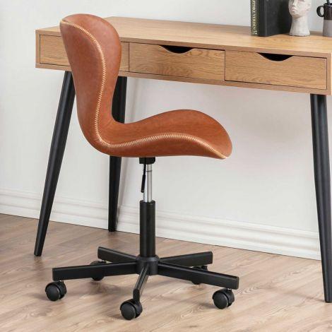 Chaise de bureau Tilda - cognac/noir