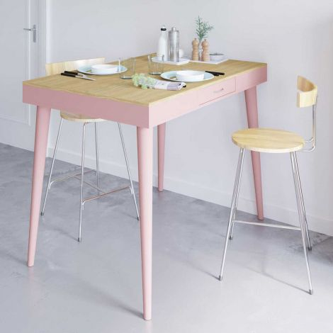 Table de bar Horizon - chêne/rose