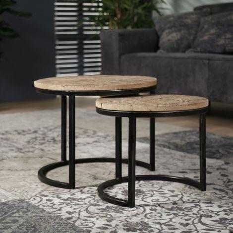 Table d'appoint série - 2 rond - demi-ronde pietement - Bois dur robuste