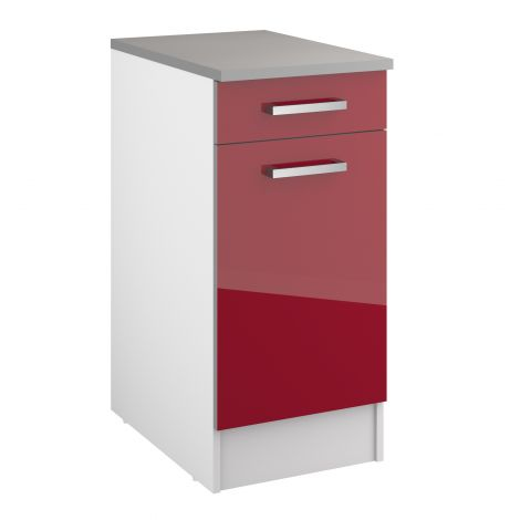 Meuble bas Eli 40 cm avec tiroir et porte - rouge