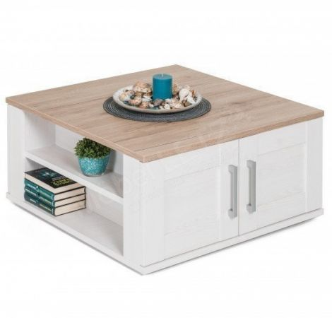 Table basse Armando 80x80cm avec 4 portes - chêne/blanc
