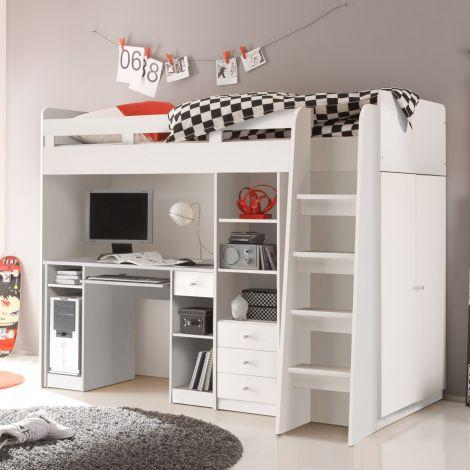 Lit mezzanine Uniq 90x200 avec bureau - blanc