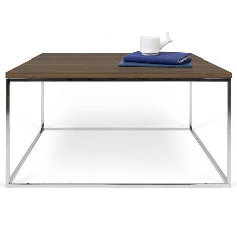 Table basse Gleam 75x75 - noyer/chrome