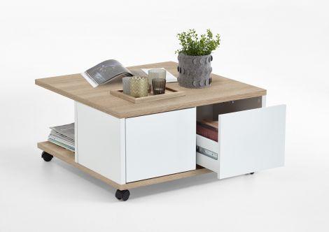 Table basse Twiggy - chêne/blanc brillant