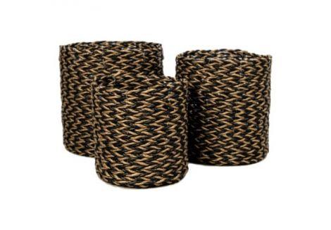 Set de paniers - raphia / grass - or / noir - set de 3