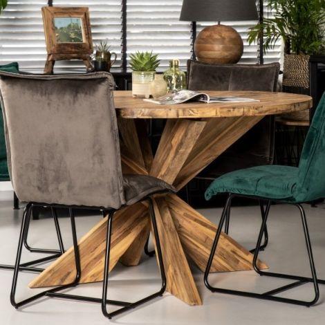 Table à manger Mosy ø130cm ronde au pied croisé - naturel/teak