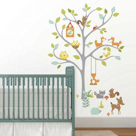 Stickers muraux Happy Woodland Fox & Friends Tree