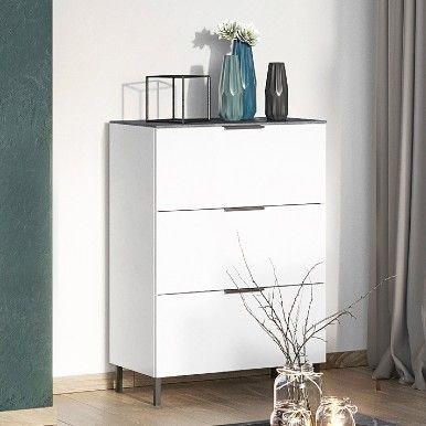 Chiffonnier Karsten 3 tiroirs 68cm - blanc/marbre