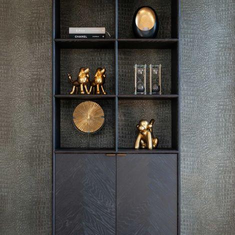 Bibliothèque Bony 100cm 2 portes - noir/or brossé