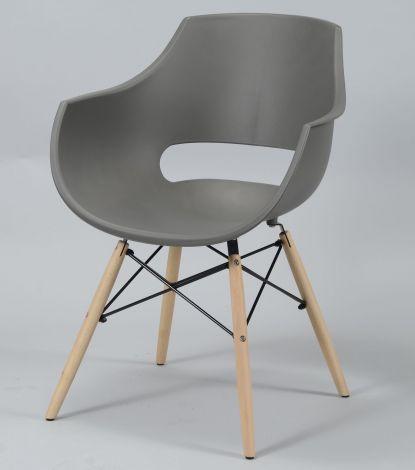 Chaise à manger en polypropylène avec pieds en bois et cadre d'araignée accoudoirs et dossier semi-ouvert - Lot de 4 - Gris