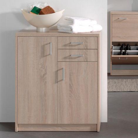 Commode Spacio 84cm 2 portes/2 tiroirs - chêne sonoma