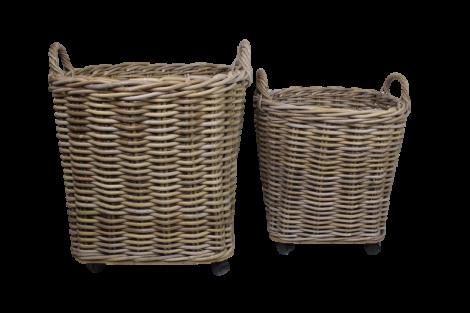 Panier pour bois de chauffage - gris coboo - ensemble de 2