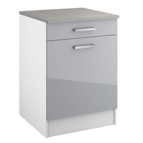 Meuble bas Eli 60 cm avec tiroir et porte - gris