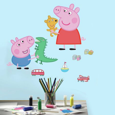 Stickers muraux Peppa Pig & George
