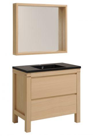 Meuble lavabo et miroir Erwin 90 cm