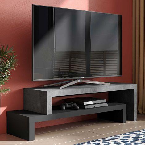 Meuble tv Cliff 125cm - béton/noir
