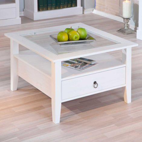 Table basse Provence 75x75 avec 1 tiroir pin massif - blanc