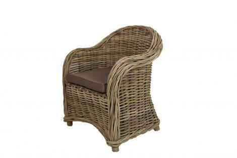 Chaise haute Arthur avec coussin - gris coboo / mocca