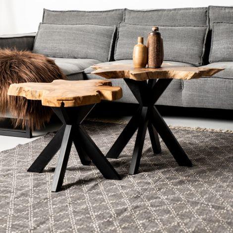 Table basse Victoria - ø60-70x45 cm - teck/noir