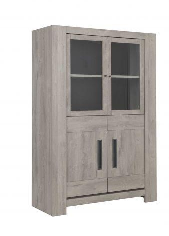 Armoire vitrée Bosy - chêne gris clair