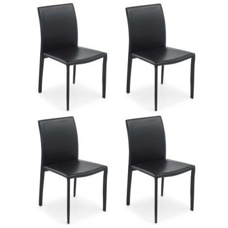 Lot de 4 chaises de salle à manger Motif - noir