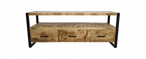 Meubles TV Havane 150cm - 3 tiroirs - bois de manguier / fer