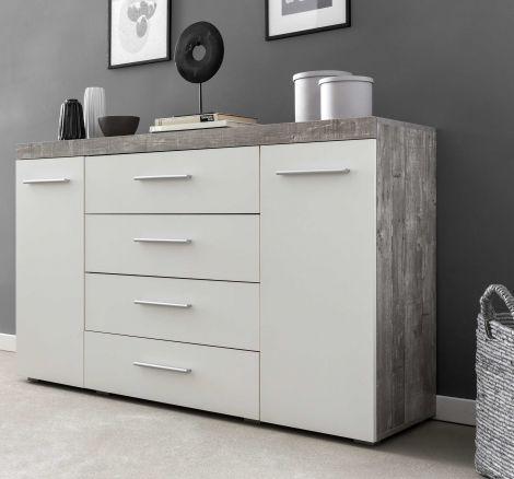 Bahut Tristan 2 portes & 4 tiroirs - blanc/béton
